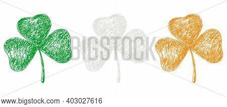 Set Of Pen And Ink Vector Shamrock Illustration. Irish Flag Colors. Hand-drawn Doodle Illustration O