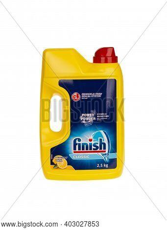 Burgas, Bulgaria - January 11, 2021: Finish Classic Dishwasher Detergent Powder, 2.5 Kg. In Yellow C