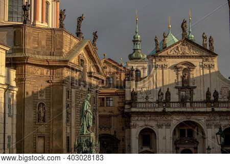 Prague, Czech Republic. 01-11-2021. Statue Of King Charles Iv On Cross Square, Near Charles Bridge I