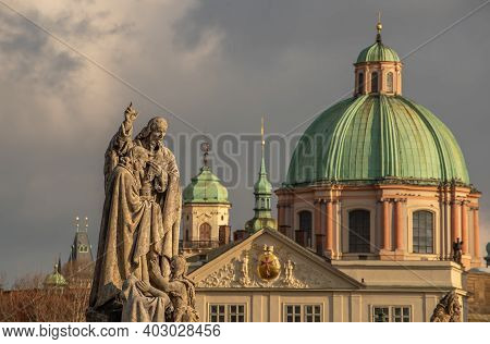 Prague, Czech Republic. 01-11-2021. Church And Statues Close To Statue Of King Charles Iv On Cross S