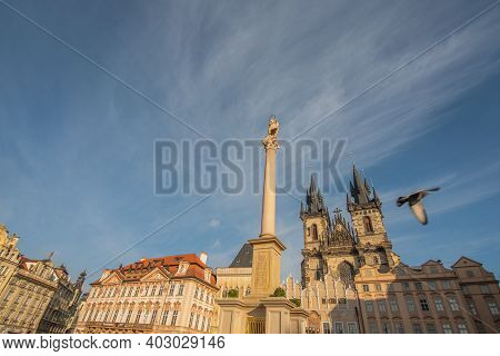 Prague, Czech Republic. 01-11-2021. Old Town Square On Sunny Day, With Church Of Our Lady Before Tyn
