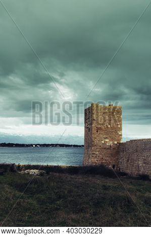 Island Of Vir Fortress Ruins In Stormy Weather, Dalmatia, Croatia.