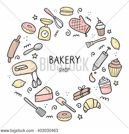 Hand Drawn Set Of Baking And Cooking Tools, Mixer, Cake, Spoon, Cupcake, Scale. Doodle Sketch Style.