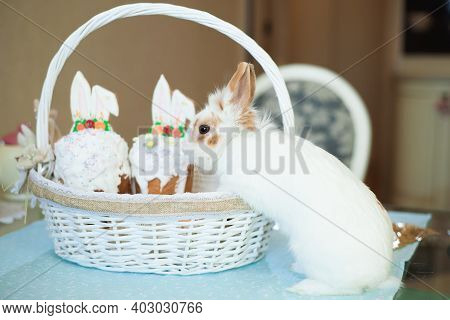 Easter Bunny Near A Basket Of Easter Cakes On The Table. Happy Easter.
