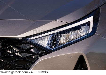 Front Light Of A Silver Car, Led Technology