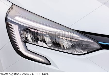 Front Light Of A White Car, Led Technology