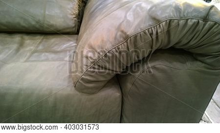 Soft Brown Modern Sofa With Pillows From Eco Leather Material In Loft Style. Comfortable Armchair. M