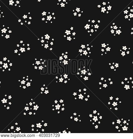 Simple Vector Black And White Seamless Pattern With Small Flowers. Elegant Abstract Floral Backgroun