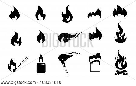 Fire. Set Of Icons. Fire Flame Collection Of Vector Symbols. Burning Match And Paper, Candle Flame,