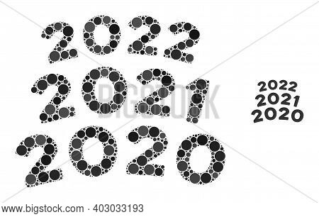2020 - 2021 Arc Texts Collage Of Circle Elements In Different Sizes And Color Tinges. Vector Round E