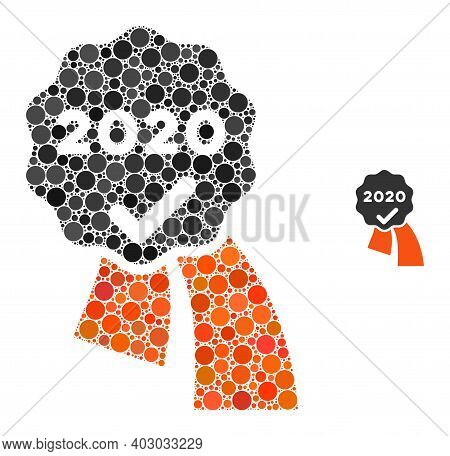 2020 Approve Award Mosaic Of Round Dots In Variable Sizes And Color Hues. Vector Round Dots Are Grou
