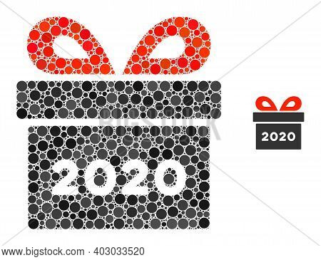 2020 Gift Composition Of Circle Elements In Variable Sizes And Color Hues. Vector Round Elements Are