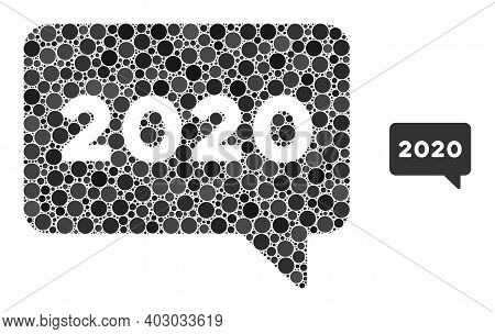 2020 Message Collage Of Circle Elements In Various Sizes And Color Tints. Vector Circle Elements Are