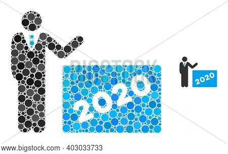 2020 Showing Man Composition Of Round Pixels In Different Sizes And Shades. Vector Round Elements Ar