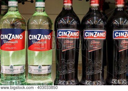Rostov-on-don, Russia - Circa November 2019: Cinzano Logo Bottles