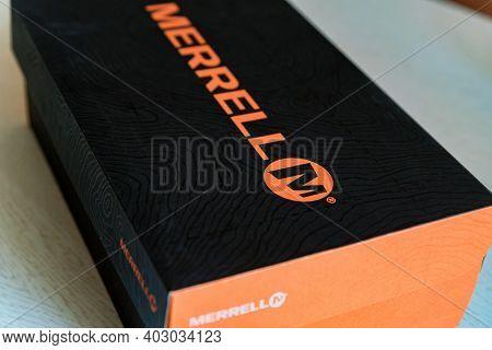 Rostov-on-don, Russia - Circa October 2019: A Shoe Box Featruing Merrell Logo