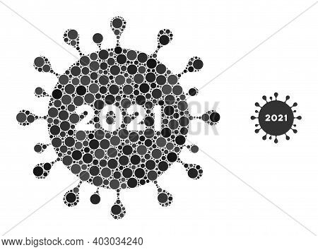 2021 Coronavirus Composition Of Round Dots In Variable Sizes And Color Hues. Vector Round Elements A