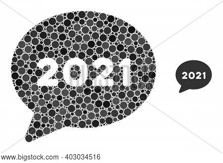 2021 Forum Message Collage Of Circle Elements In Variable Sizes And Color Tints. Vector Circle Eleme