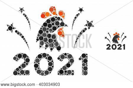 2021 Rooster Fireworks Composition Of Circle Elements In Variable Sizes And Color Tones. Vector Roun