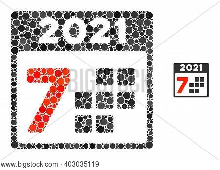 2021 Year 7 Days Mosaic Of Circle Elements In Different Sizes And Shades. Vector Round Elements Are