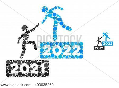 2022 Business Steps Collage Of Round Dots In Various Sizes And Shades. Vector Round Dots Are United