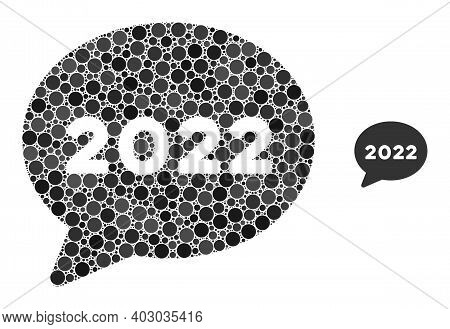 2022 Chat Message Composition Of Round Dots In Variable Sizes And Shades. Vector Round Dots Are Orga
