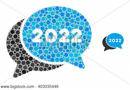 2022 Chat Messages Mosaic Of Dots In Variable Sizes And Color Tones. Vector Round Dots Are Organized