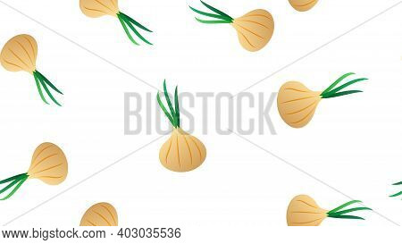 Vector Seamless Pattern With Hand Drawn White Onion Bulbs And Spring Onions. Beautiful Food Design E