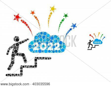 2022 Fireworks Cloud Steps Composition Of Round Dots In Variable Sizes And Color Tones. Vector Round