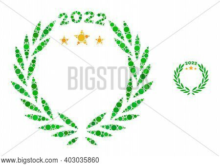 2022 Laurel Wreath Composition Of Filled Circles In Various Sizes And Color Tints. Vector Filled Cir