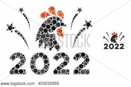 2022 Rooster Fireworks Mosaic Of Round Dots In Different Sizes And Color Tinges. Vector Round Dots A