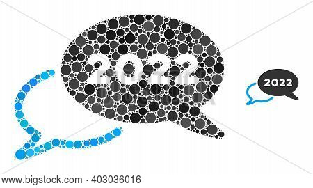 2022 Webinar Collage Of Filled Circles In Various Sizes And Color Tints. Vector Filled Circles Are O