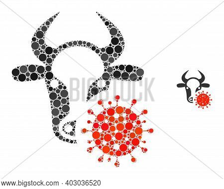 Cow Coronavirus Mosaic Of Filled Circles In Variable Sizes And Color Tinges. Vector Filled Circles A