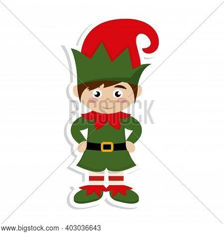 Isolated Elf Cartoon. Santas Helper. Christmas Character - Vector