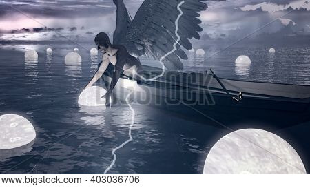 Angel collects floating souls in the water. Thunder strikes. Spiritual composition. 3D rendering