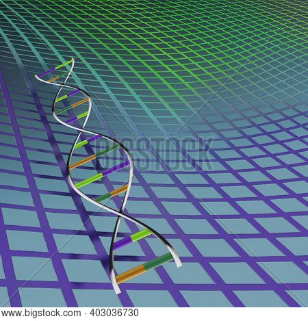 DNA strand and grid. 3D rendering