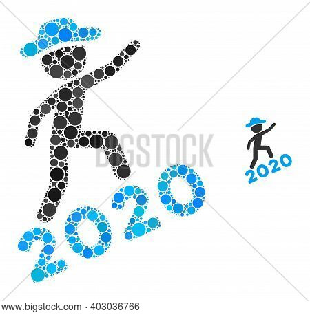 Gentleman Climbing 2020 Collage Of Filled Circles In Various Sizes And Color Hues. Vector Filled Cir