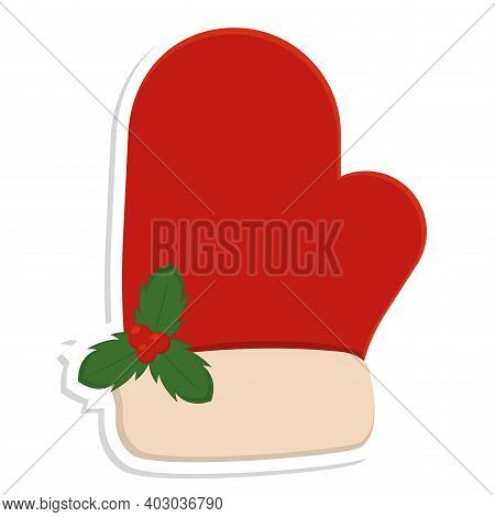 Isolated Christmas Glove Icon. Christmas Decoration - Vector