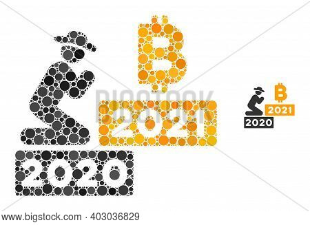 Gentleman Pray Bitcoin 2021 Collage Of Round Dots In Various Sizes And Color Hues. Vector Round Dots
