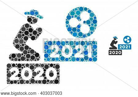 Gentleman Pray Ripple 2021 Mosaic Of Round Pixels In Variable Sizes And Shades. Vector Round Dots Ar