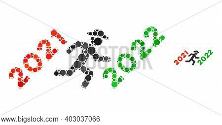 Gentleman Run To 2022 Collage Of Round Dots In Different Sizes And Color Tinges. Vector Round Dots A