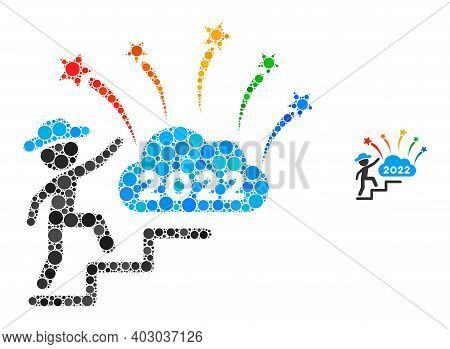 Gentleman Steps To 2022 Fireworks Composition Of Dots In Variable Sizes And Color Hues. Vector Round