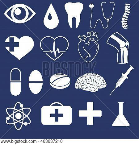 Medical Outline Icon Set. Human Heart, Knee, Brain Organ. Vector Graphics