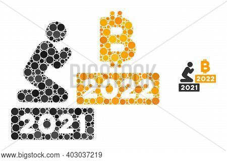 Man Pray Bitcoin 2022 Composition Of Filled Circles In Variable Sizes And Color Tones. Vector Filled