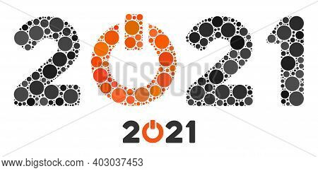 Start 2021 Caption Collage Of Round Dots In Different Sizes And Color Hues. Vector Round Dots Are Co