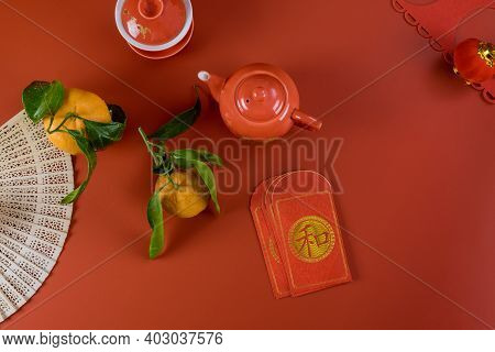 Lunar Chinese New Year Celebrations Symbol Decorations Ornament, With Asian Tea Set Money Packet Ang