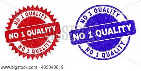 Rounded And Rosette No 1 Quality Watermarks. Flat Vector Textured Watermarks With No 1 Quality Title