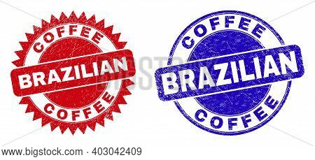 Round And Rosette Coffee Brazilian Seals. Flat Vector Distress Seals With Coffee Brazilian Title Ins