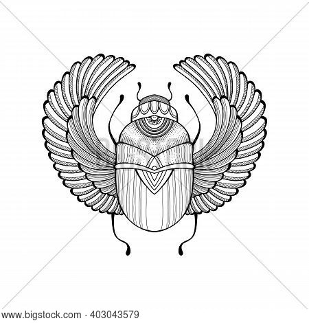Egyptian Scarab Tattoo Hand Drawn Outline Design Element.