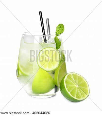 Glass Of Delicious Mojito And Lime On White Background